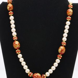 Jewelry - Simulated Pearl and Lacquer Bead Japanese Necklace